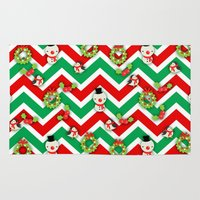 cartoons Area & Throw Rugs featuring Festive Christmas Cartoons on Chevron Pattern by Kirsten Star