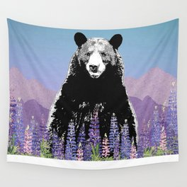 Black Bear in Lupine Wall Tapestry
