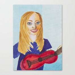 Lady V with her Ukelele Canvas Print