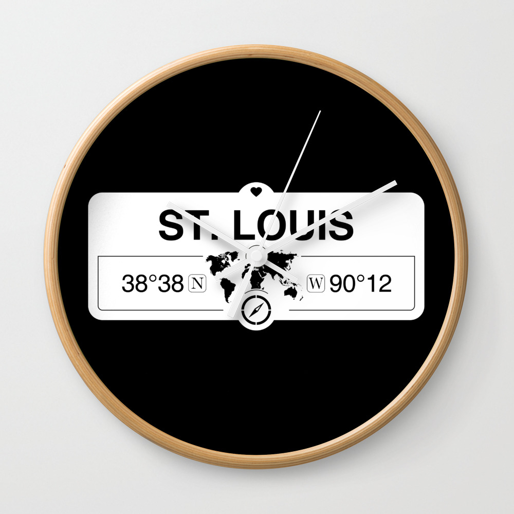 St. Louis Missouri Map Gps Coordinates Artwork With Compass Wall Clock by map-your-world