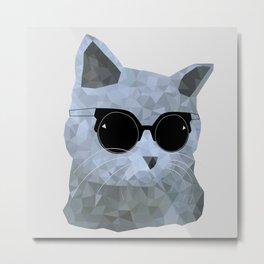 Low poly hipster british cat Metal Print