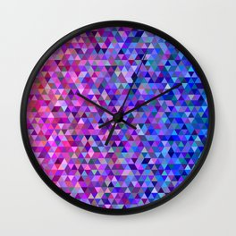Pink and blue triangles Wall Clock