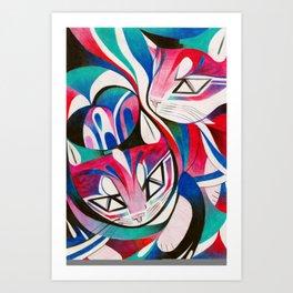 Cat Interplay 2 Art Print