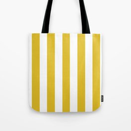 Durian Yellow - solid color - white vertical lines pattern Tote Bag