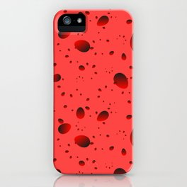 Large red drops and petals on a light background in nacre. iPhone Case