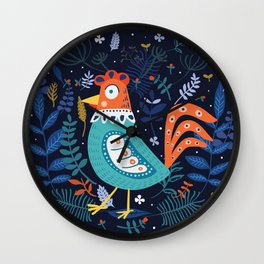 Happy blue chicken roster in flowers theme Wall Clock