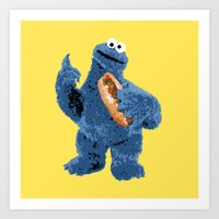 cookie monster Art Prints featuring Cookie Monster by 1337 Designs