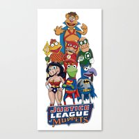 justice league Canvas Prints featuring Justice League of Muppets by JoshEssel