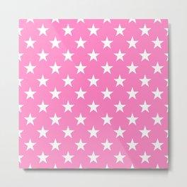 STARS DESIGN (WHITE-PINK) Metal Print