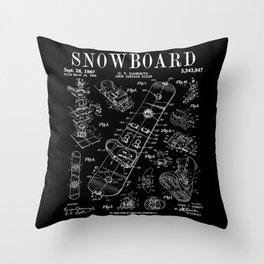 Snowboard Winter Snowboarding Vintage Patent Drawing Print Throw Pillow