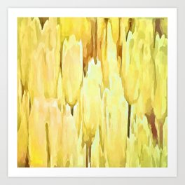 Pale Yellow Tulips Abstract Floral Pattern Art Print