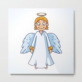 Cartoon Little Angel Illustration Metal Print