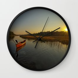 Red Canoe at South River Wall Clock