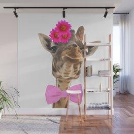 Giraffe funny animal illustration Wall Mural