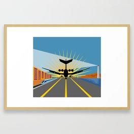 commercial jet plane airliner taking off Framed Art Print