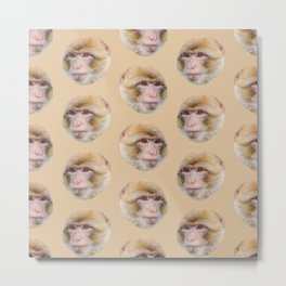 funny cute japanese macaque monkey pattern Metal Print