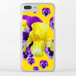 MONTAGE OF PURPLE PANSIES YELLOW IRIS Clear iPhone Case