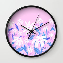 Flower daisies in pink Wall Clock