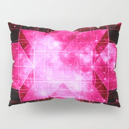 Magenta Galaxy Sacred Geometry Rhombic Hexecontahedron Pillow Sham