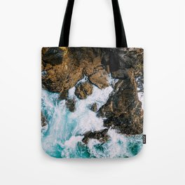 Ocean Waves Crushing On Rocky Landscape, Drone Photography, Aerial Landscape Photo, Ocean Wall Art Tote Bag