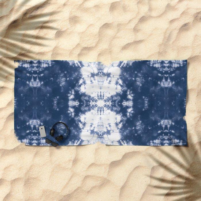 Shibori 6 Indigo Blue Beach Towel
