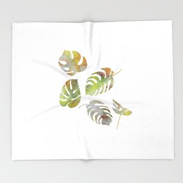 Monstera palm leaves in watercolor style Throw Blanket