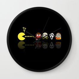 Pacman with Horror Movies Heroes Ghosts Wall Clock