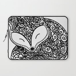 Black and White Mandala Fox Design Illustration Laptop Sleeve