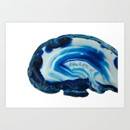 Blotchy Blue Brain Agate Slice Art Print