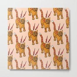 Telepathic Cat Pattern Metal Print