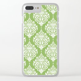 Green Damask Clear iPhone Case