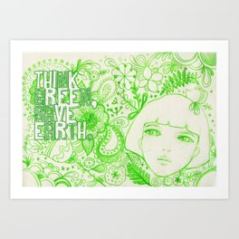 Think Green, Save Earth Art Print