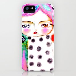 Dream a bit...every day! pink hair girl fish flowers iPhone Case