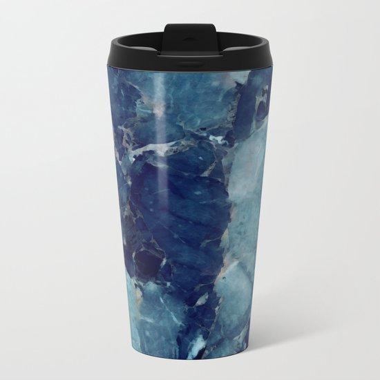 Blue marble texture Metal Travel Mug