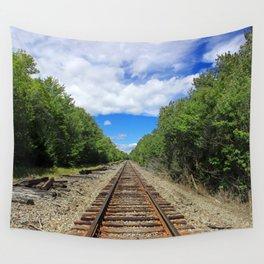 Beautiful Day Train Tracks Wall Tapestry