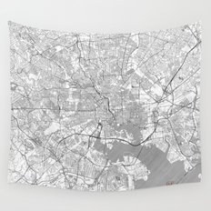 Baltimore Map Line Wall Tapestry