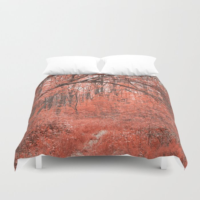 Forest Arch Trail - Salmon Pink Duvet Cover