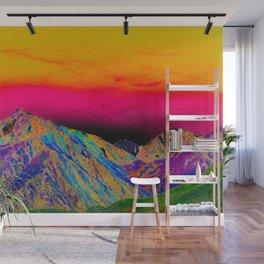 California's Sierra Mts-Digital Art, Green & Purple Wall Mural