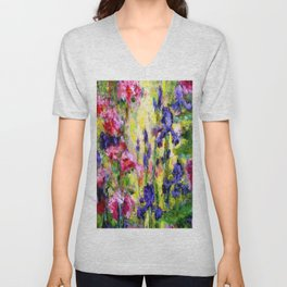 Purple Iris Garden Unisex V-Neck