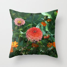 Flowers in Juicy Citrus Colors Throw Pillow