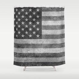 USA flag - Grayscale high quality image Shower Curtain