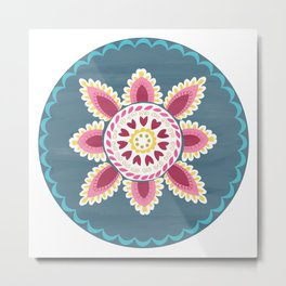 Suzani inspired floral blue 2 Metal Print