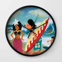 surfer Wall Clocks featuring Surfer by colortown