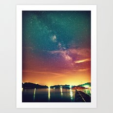 Milky Way Colorful Sunset Art Print