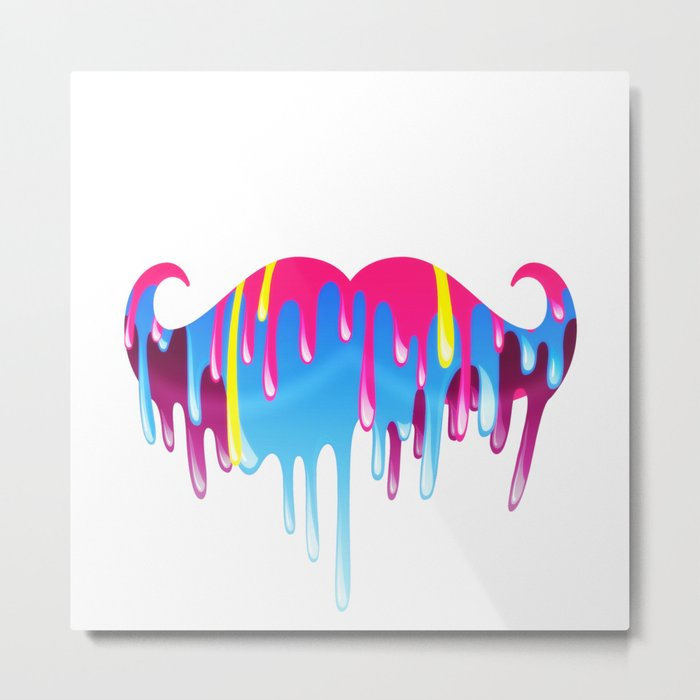Neon Funny Mustache Melting Yellow Pink Blue Metal Print