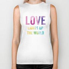 Love Lights Up The World Quote Biker Tank