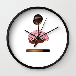 Coffee Brain Please Wait Caffeine Beverages Beans Brewer Gift Wall Clock