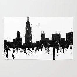 Watercolor Chicago Skyline Rug