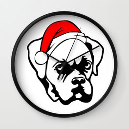 Boxer Dog with Christmas Santa Hat Wall Clock