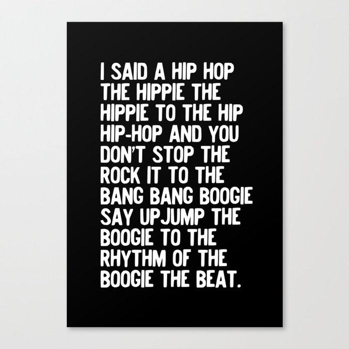 Rappers Delight Hip Hop in black Lyric Music Art Print Poster Leinwanddruck